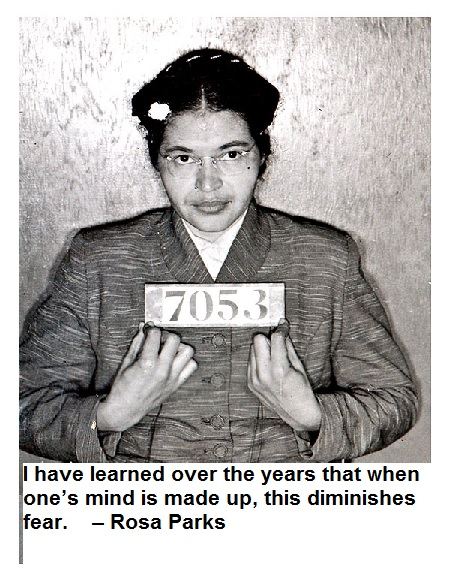 I have learned over the years that when one's mind is made up, this diminishes fear. – Rosa Parks