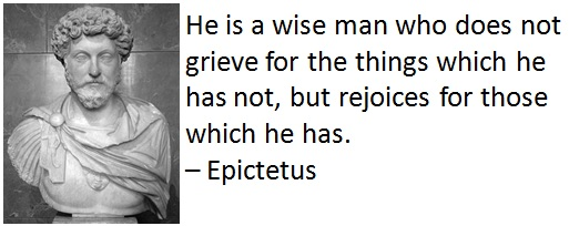 He is a wise man who does not grieve for the things which he has not, but rejoices for those which he has. – Epictetus