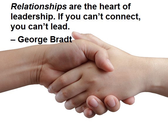 Relationships are the heart of leadership. If you can't connect, you can't lead. – George Bradt