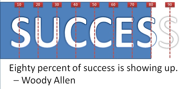 Eighty percent of success is showing up. – Woody Allen