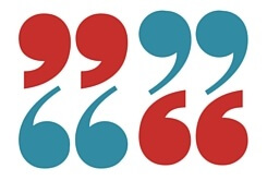 Set of 4 quotation marks in red and blue