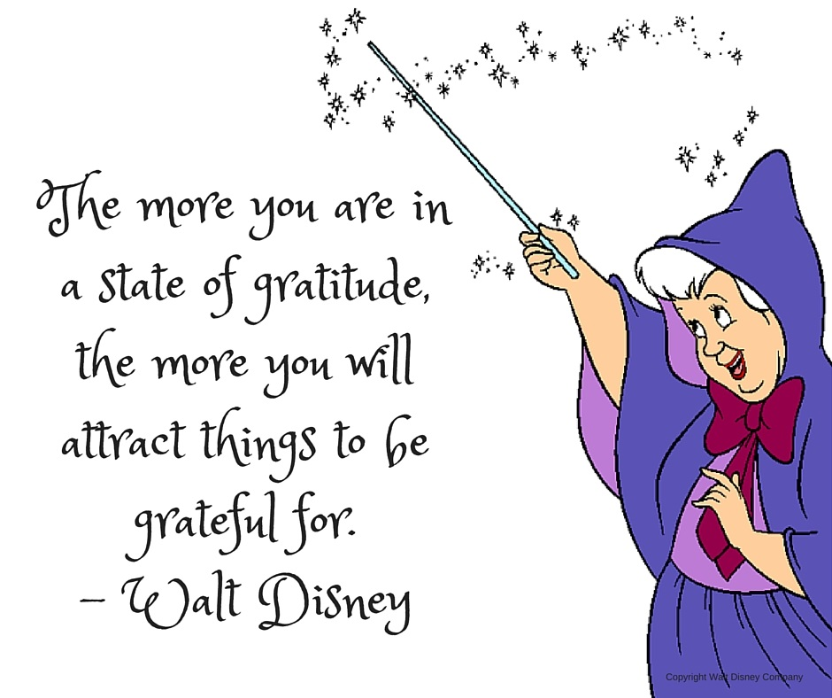 The more you are in a state of gratitude, the more you will attract things to be grateful for. – Walt Disney