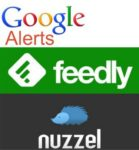 Logos for Google Alerts, Feedly, and Nuzzel